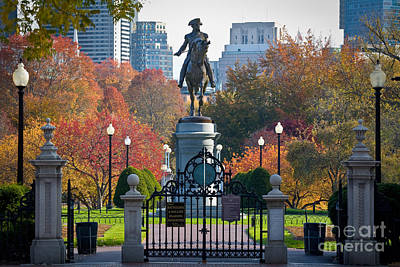 New England Fall Photograph - Washington Statue In Autumn by Susan Cole Kelly