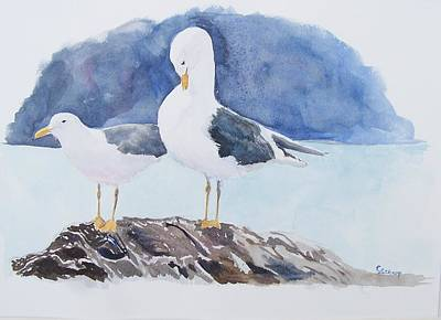 Washington - Two Gulls Art Print by Christine Lathrop