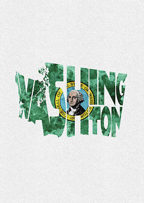 Painting - Washington Typographic Map Flag by Inspirowl Design