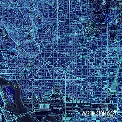 Old Map Digital Art - Washington West, Columbia, Old Blue Map, Year 1945 by Pablo Franchi