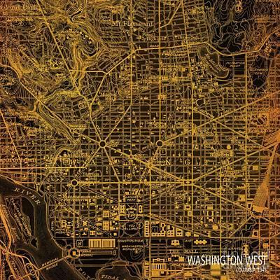Washington West, Columbia, Old Orange Bronze Map, Year 1945 Print by Pablo Franchi