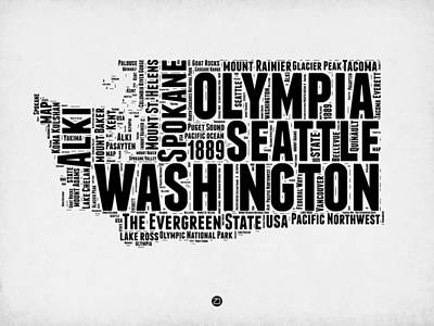 Spokane Digital Art - Washington Word Cloud Map 2 by Naxart Studio