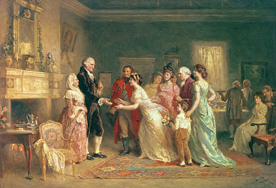 Revolutionary War Painting - Washingtons Birthday by Jean Leon Jerome Ferris