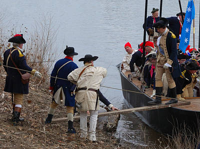 Print featuring the photograph Washington's Crossing 2010--washington Comes Ashore by Steven Richman