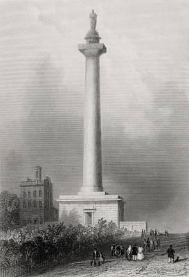Baltimore Drawing - Washingtons Monument Baltimore Usa by Vintage Design Pics