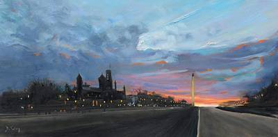Smithsonian Museum Painting - Washington Monument At Dusk by Donna Tuten