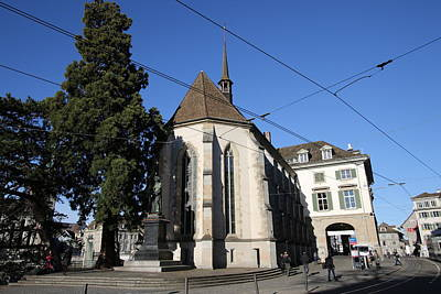 Travel Pics Royalty-Free and Rights-Managed Images - Wasserkirche - Limmatquai, Zurich by Travel Pics