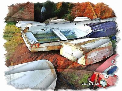 Wat-0012 Tender Boats Art Print by Digital Oil