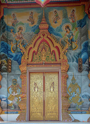 Monets Water Lilies Rights Managed Images - Wat Aranyawat Phra Wihan Doors DTHCM1563 Royalty-Free Image by Gerry Gantt