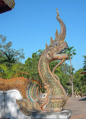 Photograph - Wat Buppharam Phra Wihan Makara And Naga Dthcm1580 by Gerry Gantt