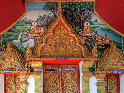 Photograph - Wat Chang Si Phra Ubosot Entrance Painting And Door Lintels Dthlu0256 by Gerry Gantt