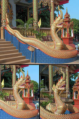 Photograph - Wat Chedi Mae Krua Makara And Naga Collage by Gerry Gantt