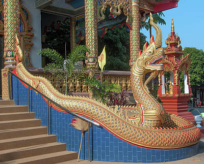 Photograph - Wat Chedi Mae Krua Wihan Makara And Naga Dthcm1861 by Gerry Gantt