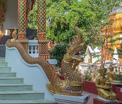 Photograph - Wat Fa Ham Phra Ubosot Makara And Naga Dthcm1353 by Gerry Gantt