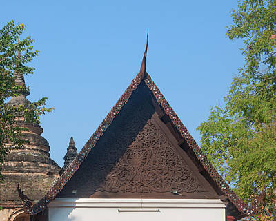 Photograph - Wat Jed Yod Phra Ubosot Teakwood Gable Dthcm0968 by Gerry Gantt