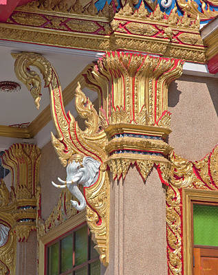 Photograph - Wat Kaeo Phaithun Hall Corner Details Dthb0855 by Gerry Gantt