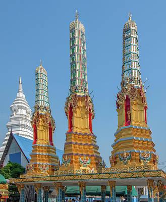 Thon Photograph - Wat Khunchan Merit Shrines Three Prangs Or Chedi Dthb2025 by Gerry Gantt
