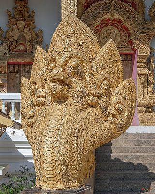 Photograph - Wat Kumpa Pradit Phra Wihan Five-headed Naga Dthcm1664 by Gerry Gantt