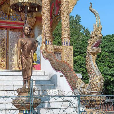 Photograph - Wat Mae Faek Luang Phra Ubosot Buddha Image And Makara And Naga Dthcm1895 by Gerry Gantt