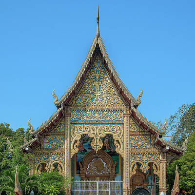 Black And White Horse Photography - Wat Nong Seng Phra Wihan Gable DTHLU0327 by Gerry Gantt