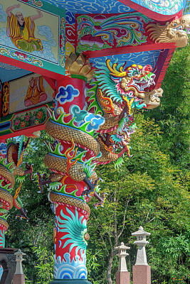 Photograph - Wat Pa Neramit Mae Taeng Chinese Shrine Dragon Pillar Dthcm2069 by Gerry Gantt