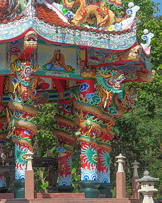 Photograph - Wat Pa Neramit Mae Taeng Chinese Shrine Dragon Pillars Dthcm2067 by Gerry Gantt
