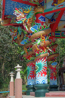 Photograph - Wat Pa Neramit Mae Taeng Chinese Shrine Dragon Pillars Dthcm2068 by Gerry Gantt