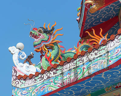 Photograph - Wat Pa Neramit Mae Taeng Chinese Shrine Roof Dragon Dthcm2066 by Gerry Gantt