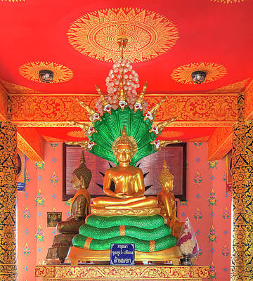 Photograph - Wat Pak Thang Phra That Chedi Buddha Image On Naga Throne Dthcm2156 by Gerry Gantt