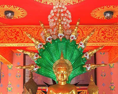 Photograph - Wat Pak Thang Phra That Chedi Buddha Image On Naga Throne Dthcm2157 by Gerry Gantt