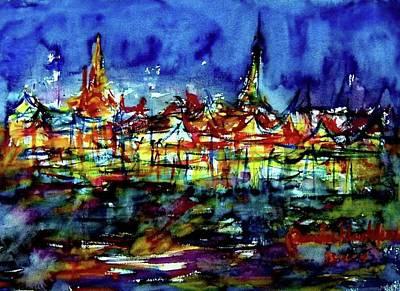 Painting -  Wat Phra Kaew by Wanvisa Klawklean