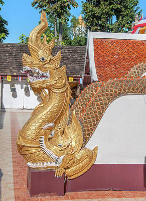 Photograph - Wat Phra That Doi Kham Phra Chedi Makara And Naga Guardians Dthcm2367 by Gerry Gantt