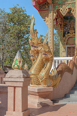 Photograph - Wat Phra That Doi Kham Phra Ubosot Boundary Stone And Makara And Naga Guardian Dthcm2384 by Gerry Gantt