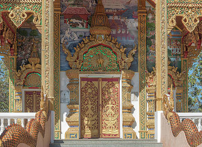Photograph - Wat Phra That Doi Kham Phra Ubosot Entrance Painting And Doors Dthcm2381 by Gerry Gantt