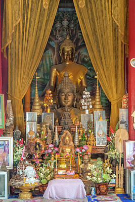 Photograph - Wat Phra That Doi Kham Phra Wihan Buddha Images Dthcm2360 by Gerry Gantt