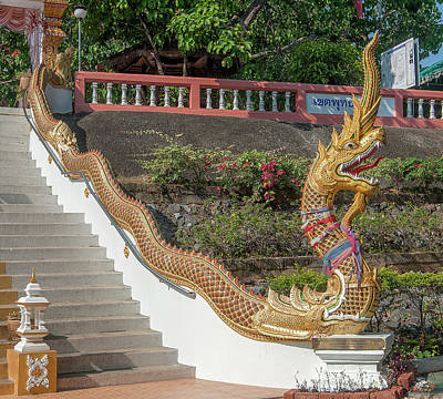 Photograph - Wat Phra That Doi Saket Upper Terrace Gate Makara And Naga Dthcm2191 by Gerry Gantt