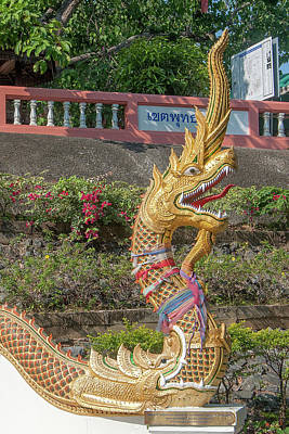 Photograph - Wat Phra That Doi Saket Upper Terrace Gate Makara And Naga Dthcm2192 by Gerry Gantt