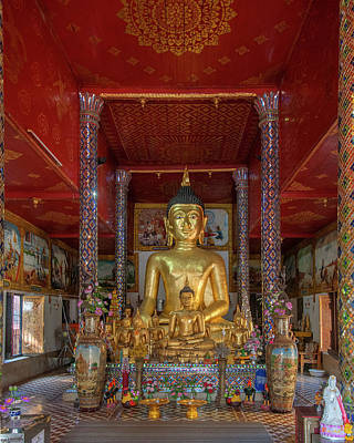 Photograph - Wat Phra That Hariphunchai South Buddha Wihan Buddha Images Dthlu0019 by Gerry Gantt