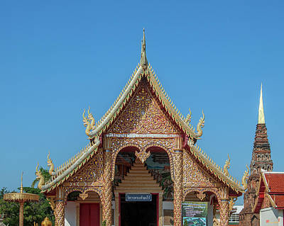 Photograph - Wat Phra That Hariphunchai Wihan Of The Travelling Buddha Gable Dthlu0021 by Gerry Gantt