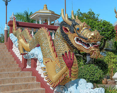 Photograph - Wat Piyaram Wealth Luck Buddha Shrine Dragon Dthcm1235 by Gerry Gantt