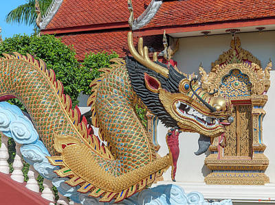 Photograph - Wat Piyaram Wealth Luck Buddha Shrine Dragon Dthcm1237 by Gerry Gantt
