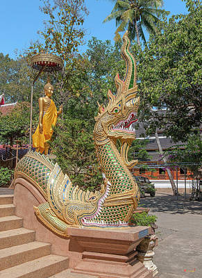 Photograph - Wat Ram Poeng Phra Wihan Buddha And Makara And Naga Guardian Dthcm2435 by Gerry Gantt