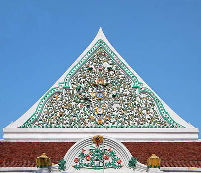 Photograph - Wat Ratcha Khruet Phra Ubosot Gable Dthb0573 by Gerry Gantt