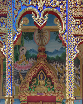 Photograph - Wat Rong Sao Phra Ubosot Door Lintel And Entrance Painting Dthlu0167 by Gerry Gantt