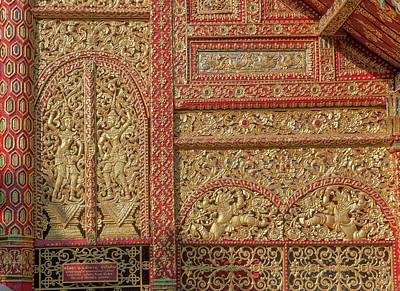 Photograph - Wat Saen Fang Phra Wihan Facade Details Dthcm1121 by Gerry Gantt