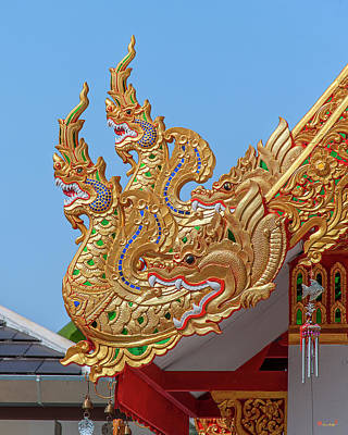 Photograph - Wat San Pu Loei Monk Shrine Makara And Naga Roof Finials Dthcm2294 by Gerry Gantt