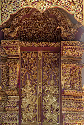 Photograph - Wat San Sai Ton Kok Phra Ubosot Doors Dthcm1398 by Gerry Gantt