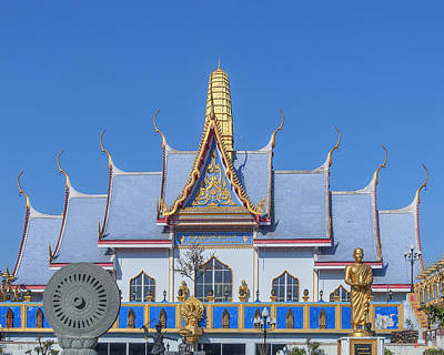 Photograph - Wat Sawangfa Pruetaram Blue Great Hall Roof Dthcb0125 by Gerry Gantt