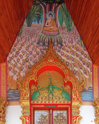 Photograph - Wat Si Ngam Phra Wihan Door Lintel And Entrance Painting Dthcm1904 by Gerry Gantt