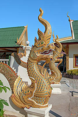 Photograph - Wat Tong Kai Phra Wihan Makara And Naga Guardians Dthcm2337 by Gerry Gantt